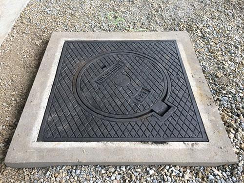 Nắp hố ga khung vuông âm nắp tròn