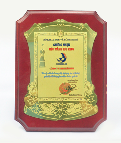 Chứng nhận cúp vàng ISO năm 2007