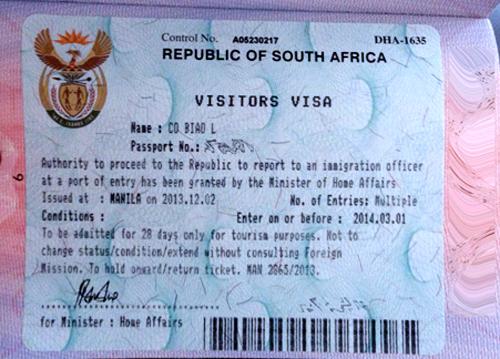 Visa du lịch Nam Phi