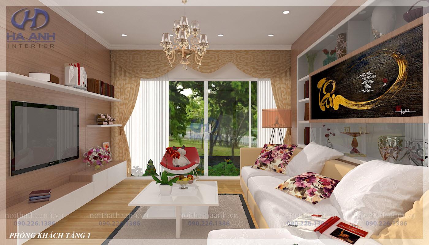 Nội thất phòng khách laminate