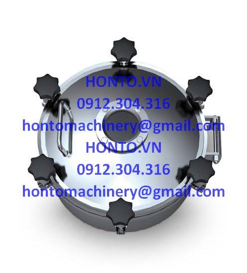 Cửa bồn tank áp lực inox vi sinh hình tròn có kính quan sát - HONTO-D-YAD_1