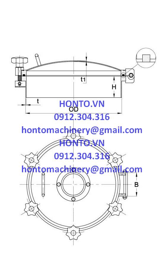 Cửa bồn tank áp lực inox vi sinh hình tròn có kính quan sát - HONTO-D-YAD_2