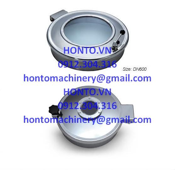 Cửa bồn tank áp lực thường inox vi sinh hình tròn có kính quan sát HONTO-B-C_1