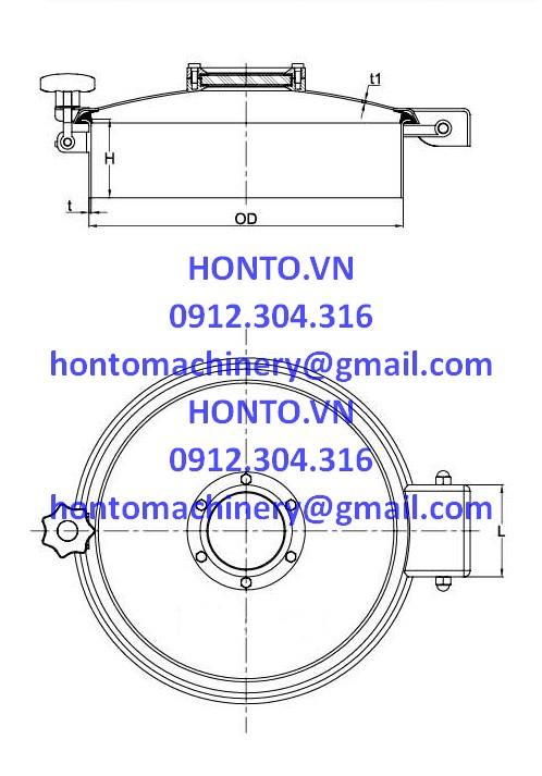 Cửa bồn tank áp lực thường inox vi sinh hình tròn có kính quan sátHONTO-B-C_2