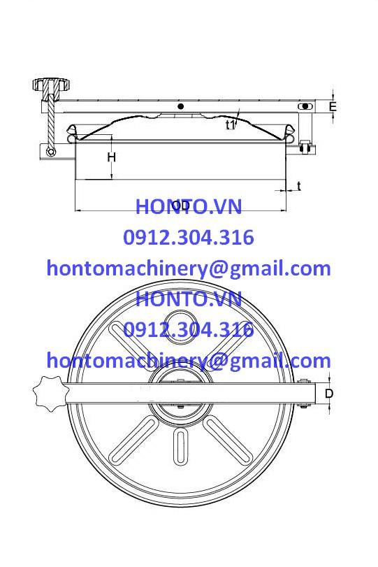 Cửa bồn tank áp lực thường inox vi sinh hình tròn gioăng trên-HONTO-B-B_2