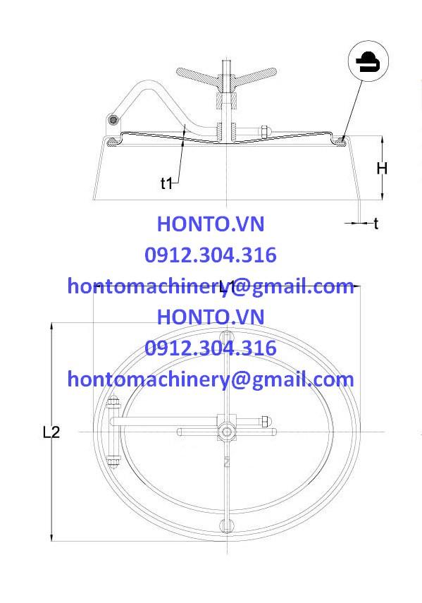 Cửa bồn tank elip inox vi sinh thành nghiêng mở trong HONTO-C-B_2