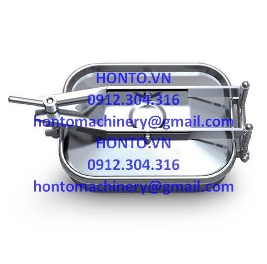Cửa bồn tank inox vi sinh hình chữ nhật 1 tay vặn - HONTO-E-B_1