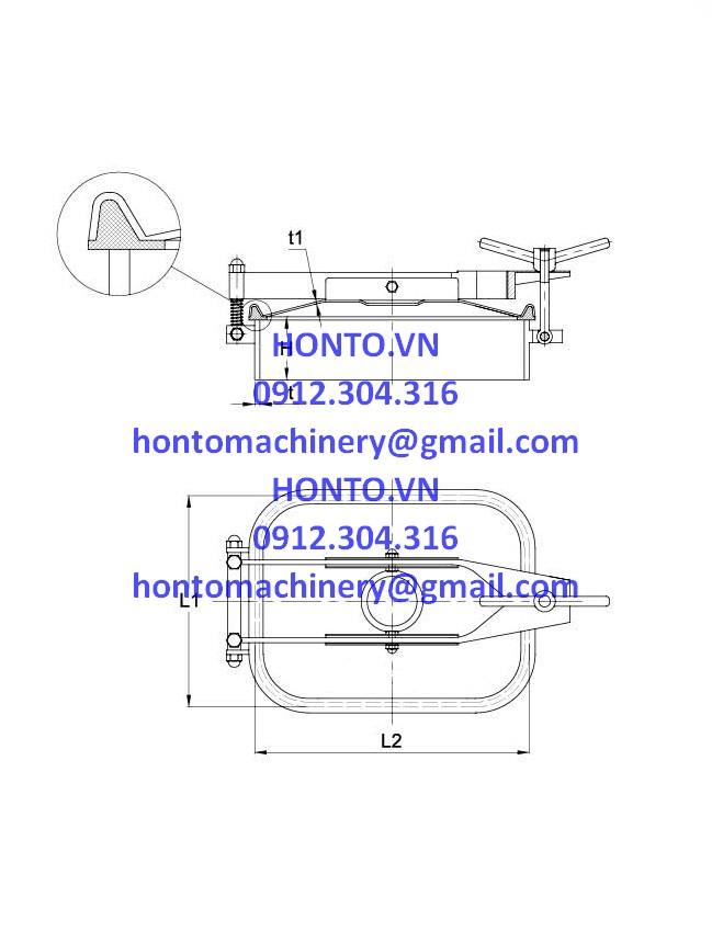 Cửa bồn tank inox vi sinh hình chữ nhật 1 tay vặn - HONTO-E-B_2