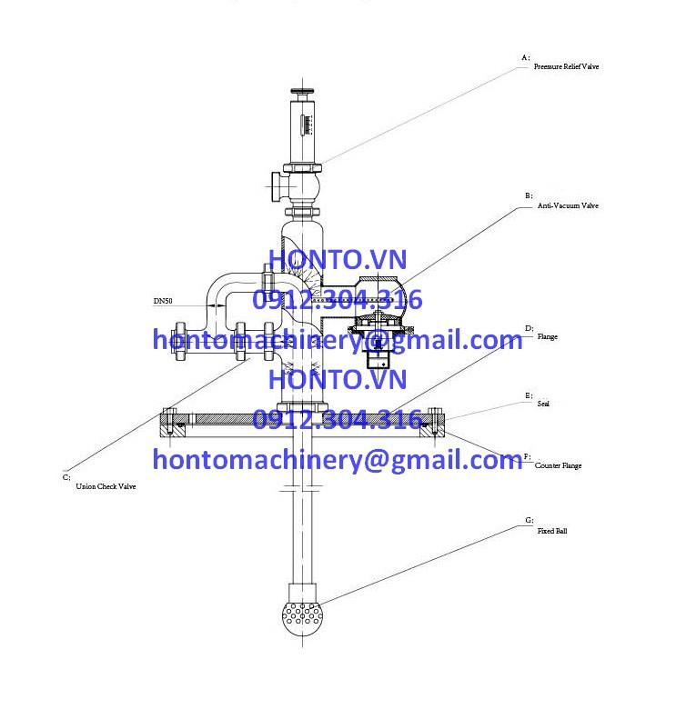 Cụm an toàn đỉnh bồn tank inox vi sinh HONTO-GAZ-D