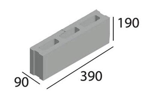 Gạch 3 lỗ nhỏ 90x190x390