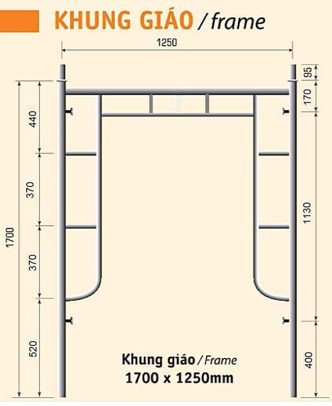 Giàn giáo xây dựng 1,7m-2,2 ly