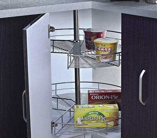 Kệ góc xoay tủ bếp inox