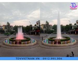 Đài phun nước hình tròn tại trung tâm thương mại Hà Nội