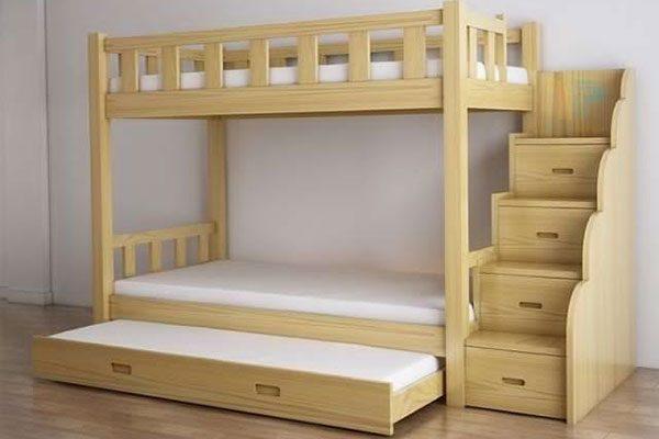Giường ngủ trẻ em 2 tầng gỗ sáng