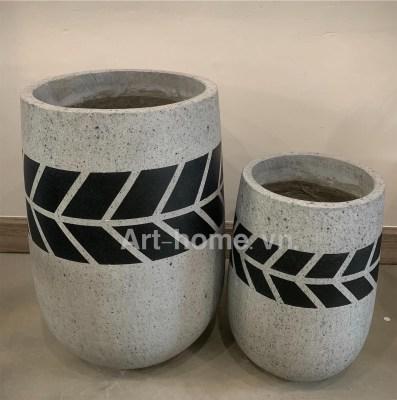 Bình chậu đá mài - cement
