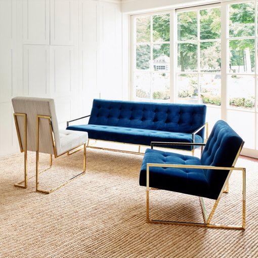 Bella sofa băng chân inox mạ vàng
