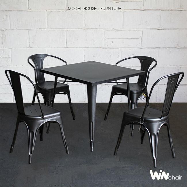 Bộ bàn tolix 4 ghế cafe