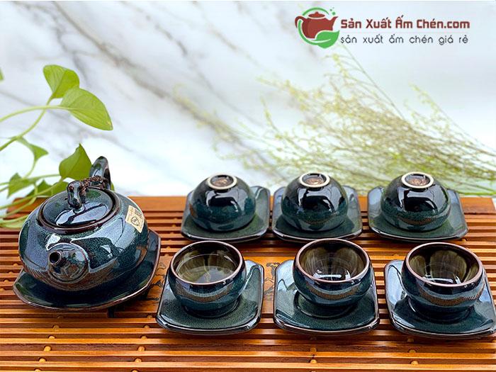 Bộ trà quai hồng ghi