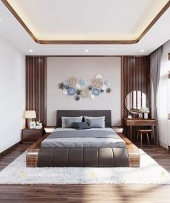 Giường ngủ gỗ óc chó mới hiện đại