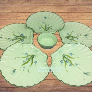 Bộ đĩa sò men ngọc