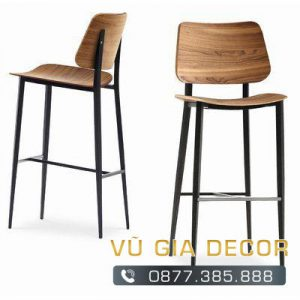 Ghế bar chân sắt mặt gỗ