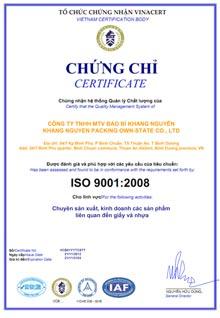 Chứng nhận ISO 2008
