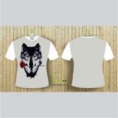 Áo thun 3D phối trắng in hình vẽ sói