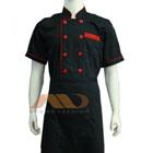 Áo bếp tay ngắn màu đen viền đỏ