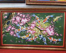 Vẽ tranh sơn dầu cá đào