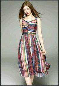 Đầm maxi in sọc
