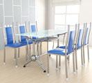 Bộ bàn kiếng và ghế nệm inox DONA