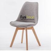 Ghế ăn chân gỗ sồi tự nhiên vải bố