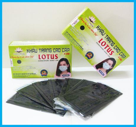 Khẩu trang cao cấp Lotus đen 4 lớp dày (20 cái)
