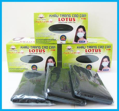 Khẩu trang Lotus đen 4 lớp dày (50 cái)