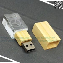 USB pha lê nắp gỗ