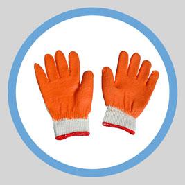 Găng tay sợi phủ cao su cam