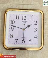 Đồng hồ khung vuông viền vàng