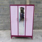 Tủ sắt 3 buồng màu hồng
