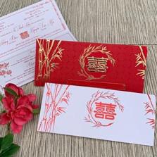 In thiệp cưới truyền thống đỏ nhung