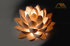 Đèn gỗ trang trí để bàn hoa sen