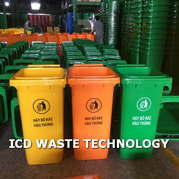 Thùng rác nhựa HDPE 120L màu cam