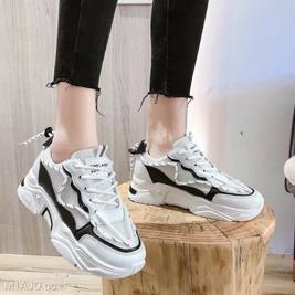 Giày Bata nữ đế độn sọc trắng