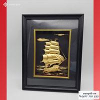 Tranh hoa thuyền buồm mạ vàng