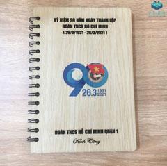 Sổ bìa gỗ khắc quà tặng