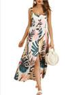 Leaf Print Buttoned Maxi Dress